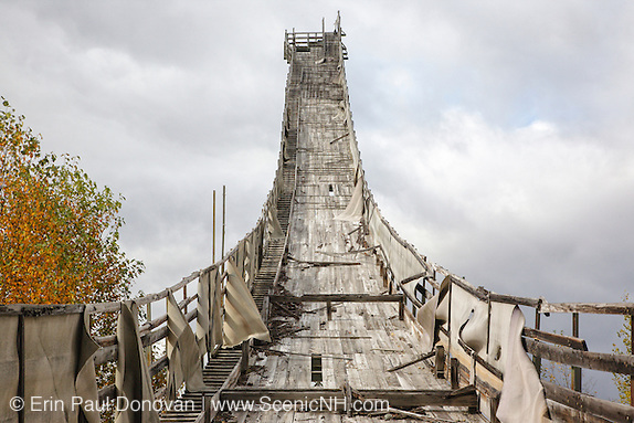 The abandoned Nansen Ski Jump in Milan New Hampshire. This jump was constructed in 1936 and in 1938 Olympic Trials were held here. The jump was closed in 1988.