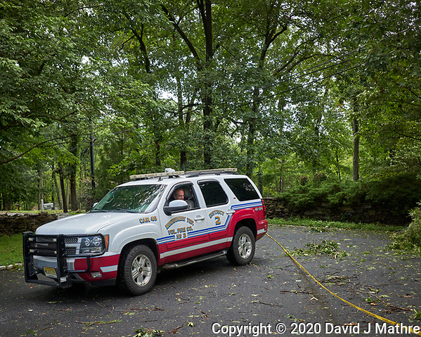 Front yard after Tropical Storm Isaias. Montgomery Township Volunteer Fire Company, District 1, Car 46. Image taken with a Leica CL camera and 18 mm f/2.8 lens (DAVID J MATHRE)