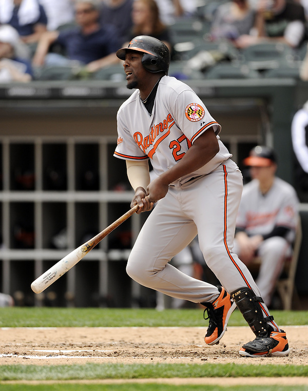 CHICAGO - MAY 01: Vladimir Guerrero #27 of the Baltimore Orioles bats against the Chicago White Sox on May 01, 2011 at U.S. Cellular Field in Chicago, Illinois. The Orioles defeated the White Sox 6-4. (Photo by Ron Vesely) Subject: Vladimir Guerrero (Ron Vesely)