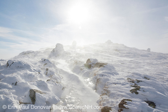 Strong winds blow snow across the summit of Mount Lafayette during the winter months in the White Mountains, New Hampshire USA (Erin Paul Donovan | ScenicNH.com Photography)