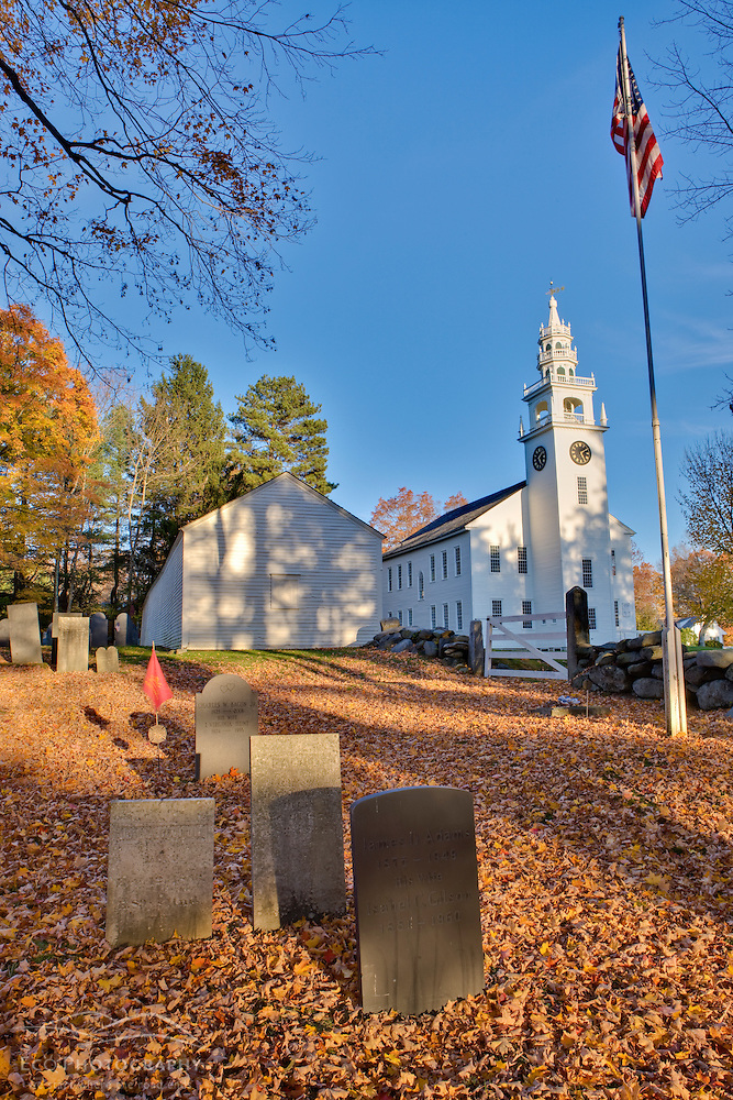 The meetinghouse and Old Burying Ground in Jaffrey Center, New Hampshire. (Jerry and Marcy Monkman)