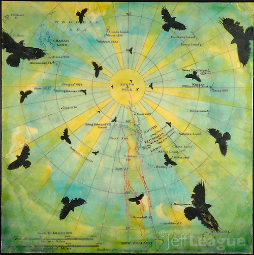 Encaustic painting over antique map  of South Pole with birds (Jeff League)