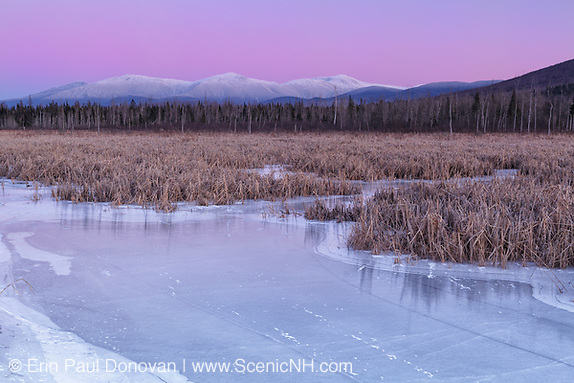 Snow-capped Presidential Range at sunset from the Presidential Range Rail Trail (Cohos Trail) at Pondicherry Wildlife Refuge in Jefferson, New Hampshire USA during the winter months.