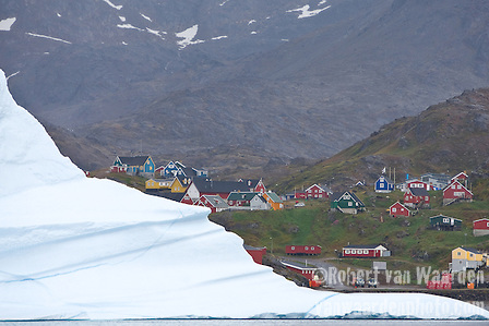 Greenland village and Iceberg