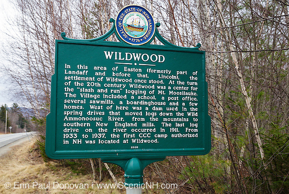 Site of the Wildwood settlement along Route 112 in the town of Easton, New Hampshire during the month of April. Wildwood was a logging settlement during the 20th century along the Wild Ammonoosuc River. The first Civilian Conservation Corps camp authorized in New Hampshire was also located at Wildwood.