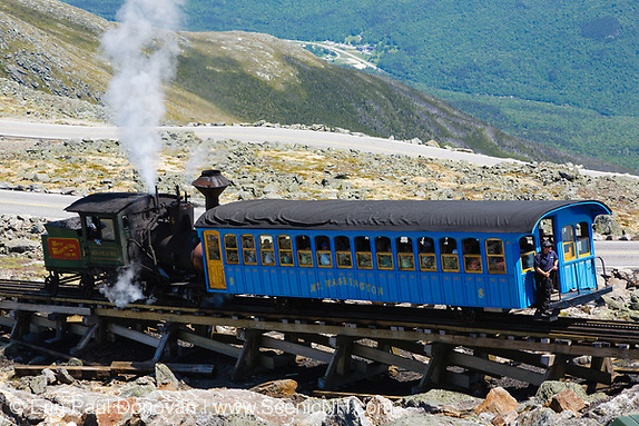 June history, Mount Washington Cog Railway on the summit of Mount Washington in the White Mountains, New Hampshire. Completed in 1869, this three mile railroad leads to the summit of Mount Washington. This is the Moosilauke locomotive.