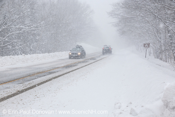 Kancamagus Highway (route 112), which is one of New England's scenic byways in blizzard conditions. Located in the White Mountains, New Hampshire.