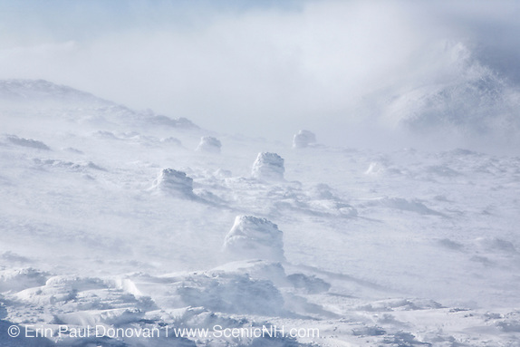 Extreme weather conditions near the summit of Mount Washington in the White Mountains, New Hampshire.