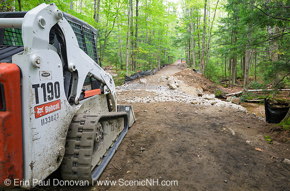 September 2013 - Trail repair work along the Lincoln Woods Trail in the White Mountains, New Hampshire. This trail was damaged by Tropical Storm Irene in 2011 and is now just being repaired.