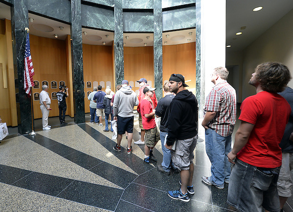 COOPERSTOWN, NY - JULY 28:  A general view of fans lined up to view the freshly installed HOF plaques featuring the 2014 Hall of Fame inductees on display at the Baseball Hall of Fame and Museum in Cooperstown, New York on July 28 2014. (Ron Vesely)