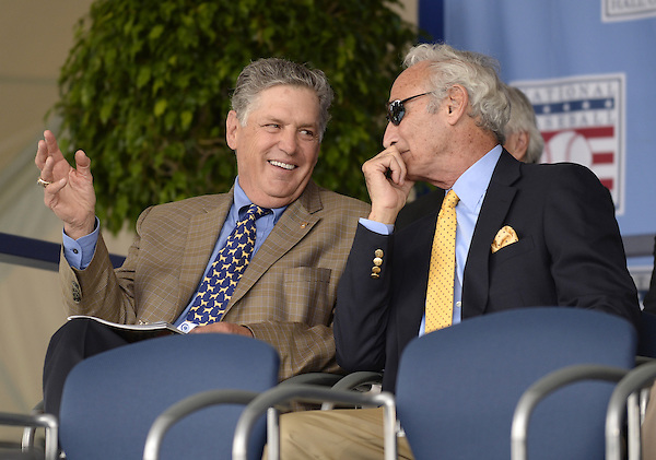COOPERSTOWN, NY - JULY 27:  Baseball Hall of Famers Tom Seaver (L) and Sandy Koufax chat prior to the 2014 induction ceremonies held at the Clark Sports Center in Cooperstown, New York on July 27 2014. (Ron Vesely)