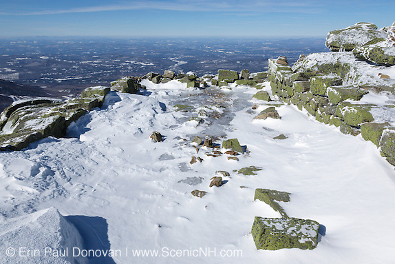Historic Stone Structures, remnants of the old 1800s Summit House (foundation) on the summit of Mount Lafayette in the White Mountains of New Hampshire. The Appalachian Trail travels across this summit.