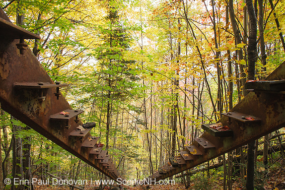 Frame for stairs that lead up to Nansen Ski Jump in Milan New Hampshire USA. This jump was constructed in 1936 and in 1938 Olympic Trials were held here. The jump was closed in 1988.