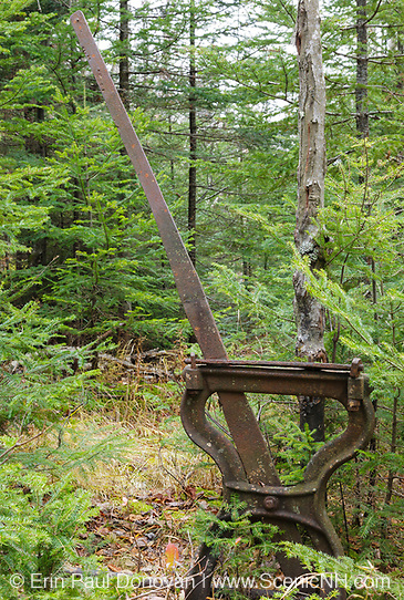 Beebe River Railroad - Harp Switch Stand along the old Beebe River Railroad in Waterville Valley, New Hampshire. This was a logging railroad, which operated from 1917-1942. The harp style switch stand was a manually operated railroad switch, which allowed trains to transfer to another section of track.