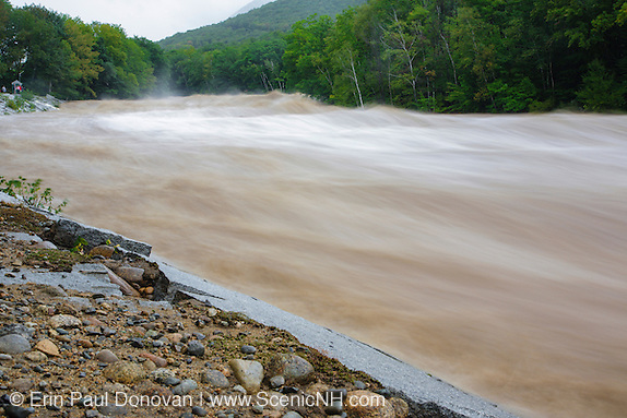 During the flash flood of the East Branch of the Pemigewasset River in Lincoln, New Hampshire USA during Tropical Storm Irene in 2011. This tropical storm / hurricane caused destruction along the East coast of the United States and the White Mountain National Forest of New Hampshire was officially closed during the storm.