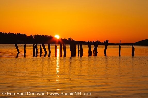 Image of Popham Beach State Park at sunrise during the spring months in Phippsburg, Maine.