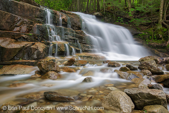 Franconia Notch State Park - Stairs Falls during the spring months. This waterfall is located on Dry Brook in Lincoln, New Hampshire USA The Falling Waters Trail passes by it.