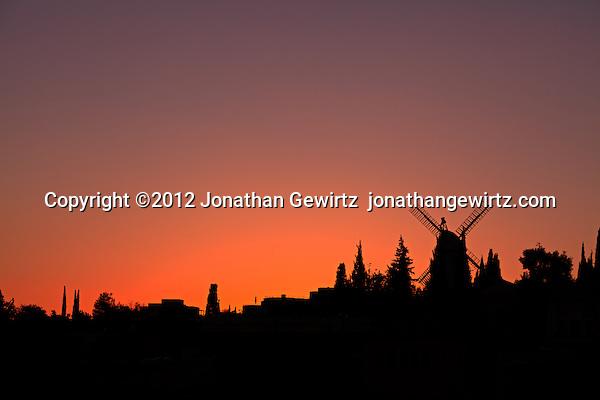 The Moses Montefiore windmill at Yemin Moshe at sunset. (© 2012 Jonathan Gewirtz / jonathan@gewirtz.net)