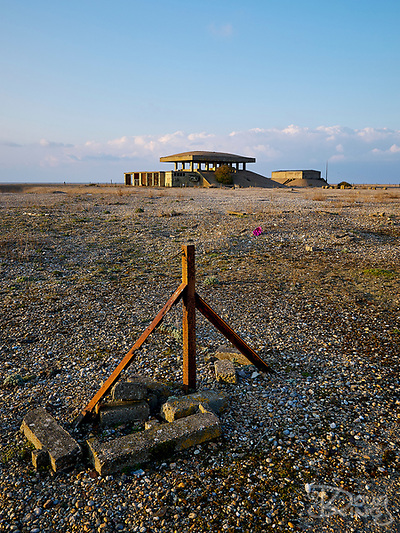Derelict buildings and industrial detritus litter the site of the former Atomic Weapons Research Establishment on the shingle spit at Orford Ness in Suffolk. (Doug King)