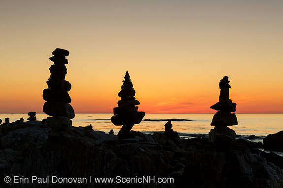 Rock people at sunrise in Rye, New Hampshire USA during the spring months.