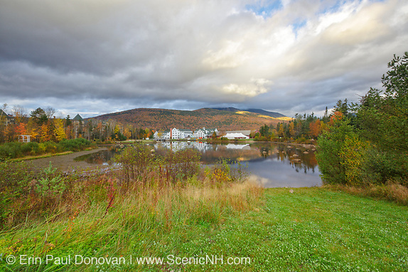 The village of Waterville Valley, New Hampshire during the autumn months. Mt Tecumseh is in the background. This mountain is named for the Shawnee chief, Tecumseh  (c.1768–1813).