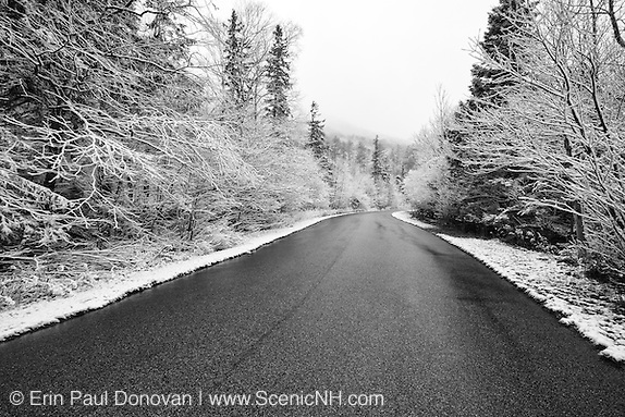 Franconia Notch State Park - Old Man of the Mountain Parking area in the White Mountains, New Hampshire USA after a dusting of snow Order a print of this image here: http://bit.ly/YXQUGm (Erin Paul Donovan | ScenicNH.com Photography)