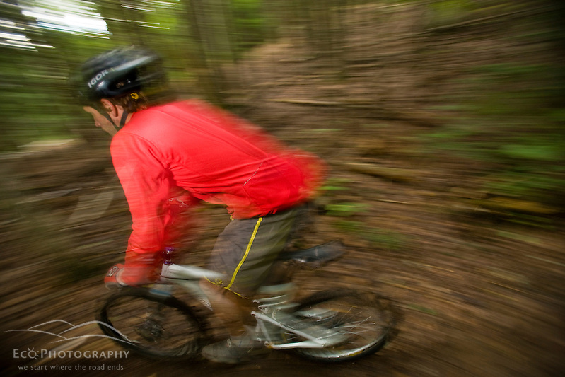 A man rides his mountain bike at Moose Brook State Park in Gorham, new Hampshire. (Jerry and Marcy Monkman)