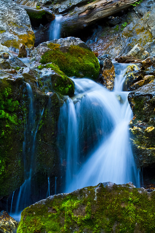 One of many smaller waterfalls cascading down the mountain near Donut Falls in Big Cottonwood Canyon, Utah. (Clint Losee)