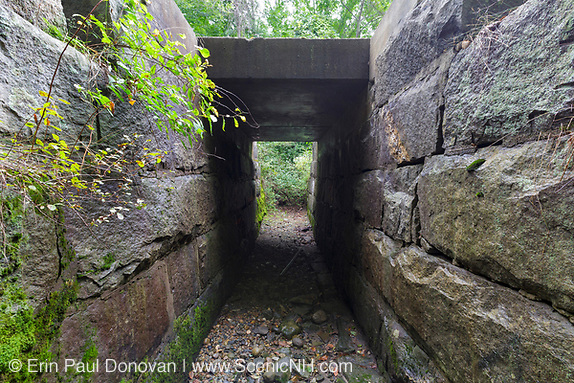 Granite culvert along the old Boston & Maine Railroad's Pemigewasset Valley Railroad in Plymouth, New Hampshire. This culvert is near today's Common Man Inn & Spa, and connected Plymouth to North Woodstock, New Hampshire.