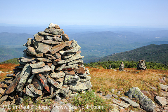 Appalachian Trail - Rock cairns near the summit of Mount Moosilauke during the summer months in the White Mountains, New Hampshire. This area is excellent for hiking.