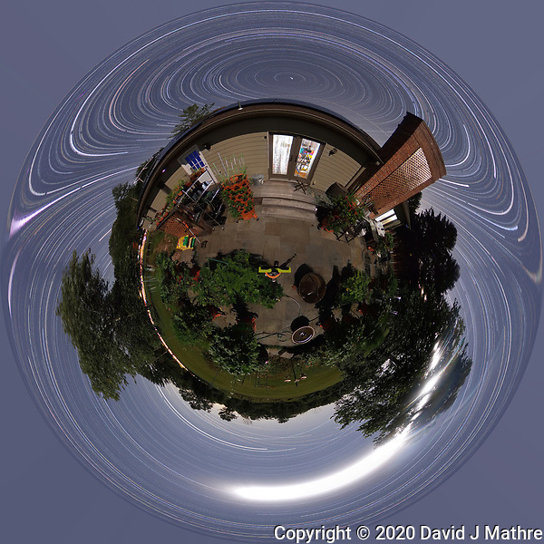Summertime Night Sky over New Jersey (360 Little Planet). Composite of 360 images taken with a Ricoh Theta Z1 camera (ISO 400, dual 2.6 mm fisheye lens, f/3.5, 60 sec). (DAVID J MATHRE)