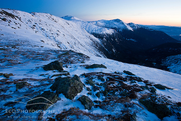 Dawn in winter in New Hampshire's White Mountains. Northern Presidential Range. Great Gulf Wilderness. From Gulfside Trail below Mount Washington. (Jerry and Marcy Monkman/EcoPhoto)