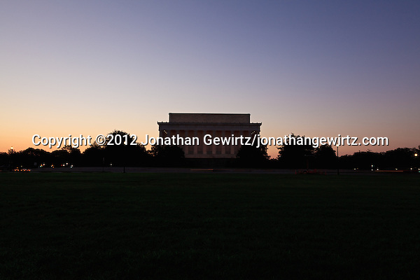 The back of the Linconln Memorial on Lincoln Memorial Circle at the National Mall in Washington, DC is silhouetted against the eastern sky a few minutes before sunrise. (© 2012 Jonathan Gewirtz / jonathan@gewirtz.net)