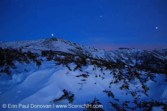 Franconia Ridge at night blue hour from Greenleaf Trail on Mount Lafayette in the White Mountains, New Hampshire USA during the winter months.
