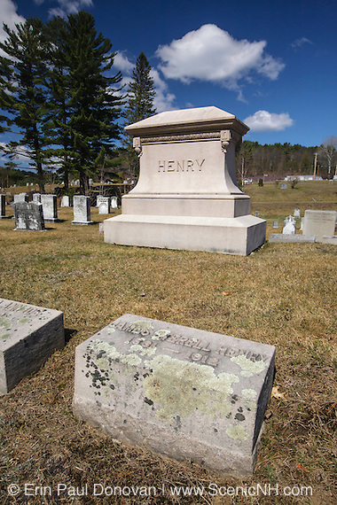 Grave site of James E. Henry (1831-1912) at Glenwood Cemetery in Littleton, New Hampshire USA. J.E. Henry was a 19th / 20th century timber baron known for his East Branch & Lincoln Railroad in Lincoln, New Hampshire USA. Historians suggest he was born in 1831 and died on April 19, 1912.
