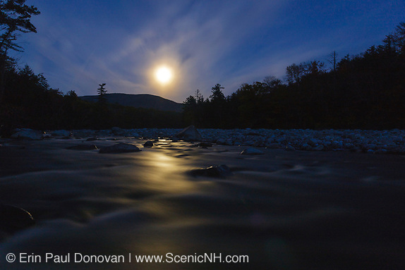 Full moon on a cloudy night over the East Branch of the Pemigewasset River in Lincoln, New Hampshire USA. (Erin Paul Donovan | ScenicNH.com Photography)