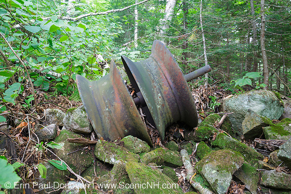 Part of a snubbing winch (artifact) along an abandoned sled road off the Gordon Pond Railroad in Kinsman Notch of the White Mountains, New Hampshire. This was a logging railroad in operation from 1905-1916.