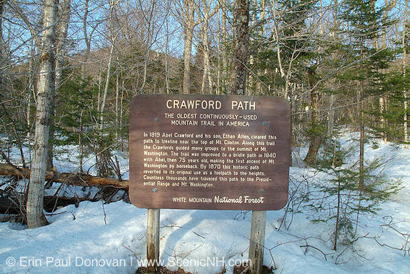 Sign in the White Mountains, New Hampshire USA near the Highland Center. Crawford Path is the oldest continuously used mountain trail in America.