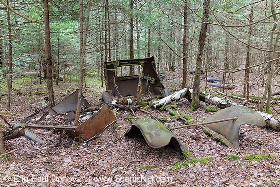 Abandoned car in forest in Franconia, New Hampshire.