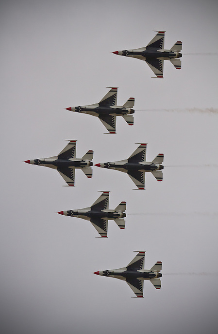 Thunderbird formation flying over the sky at the Warriors Over the Wasatch air show in 2012. (Clint Losee)