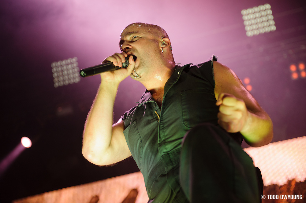 Disturbed performing on the Mayhem Festival at Verizon Wireless Amphitheater in St. Louis, Missouri on July 19, 2011. © Todd Owyoung. (Todd Owyoung)