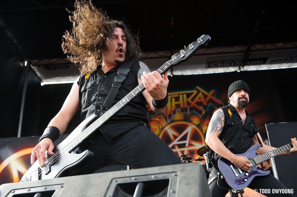 Anthrax performing at Mayhem Fest 2012 at Verizon Wireless Amphitheater in St. Louis, Missouri on July 20, 2012. (Todd Owyoung)