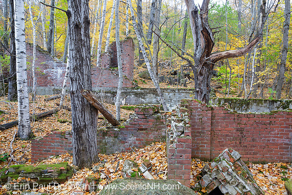Remnants of the powerhouse in the abandoned town of Livermore during the autumn months. This was a logging town in the late 19th and early 20th centuries along the Sawyer River Railroad in Livermore, New Hampshire. The town and railroad were owned by the Saunders family.