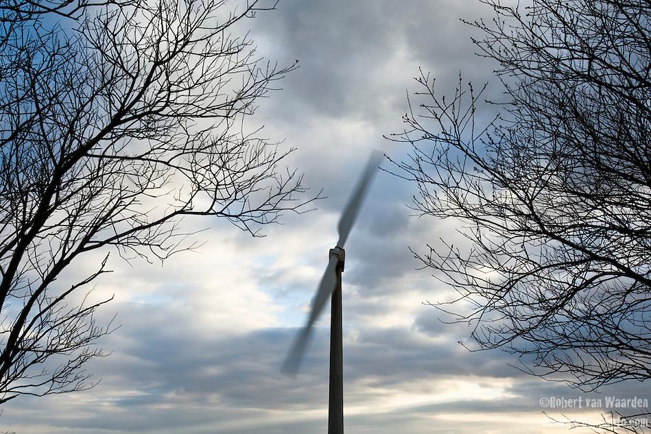 An old two bladed wind turbine framed by trees turns in the wind near Delabole, Cornwall in the United Kingdom. (Robert van Waarden)