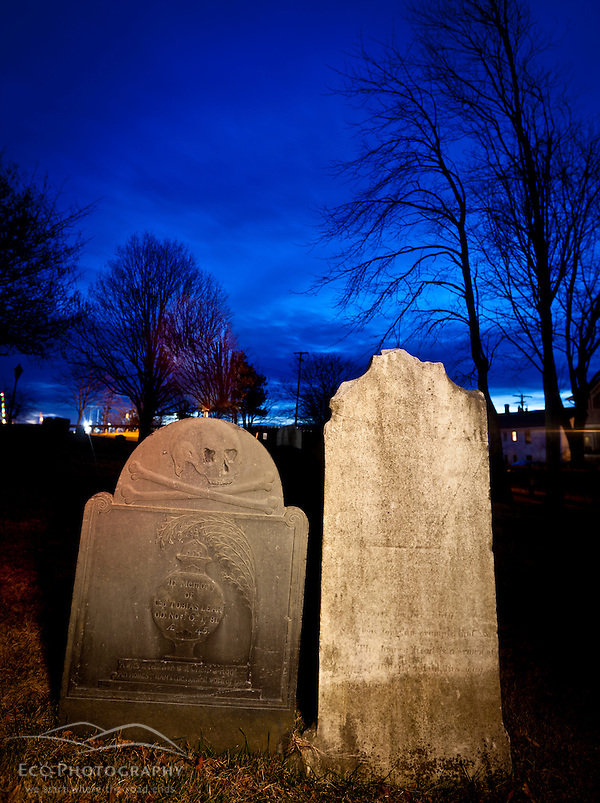 Captain Tobias Lear's 1781 tombsone in the Point of Graves Burying Ground in Portsmouth, New Hampshire. (Jerry and Marcy Monkman)