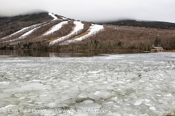 Cannon Mountain from Echo Lake in Franconia Notch State Park of the New Hampshire White Mountains during the month of March.
