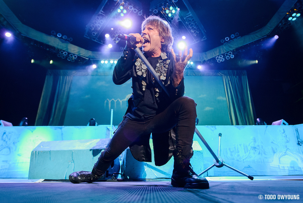 UK heavy metal band Iron Maiden performing on the Maiden Enland World Tour at Verizon Wireless Amphitheater in St. Louis on September 8, 2013. (Todd Owyoung)