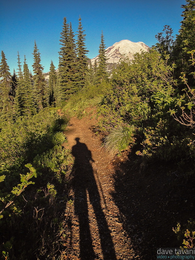 My shadow stands tall in the morning light along the Naches Peak Loop Trail in Mt. Rainier National Park. (Dave Tavani)