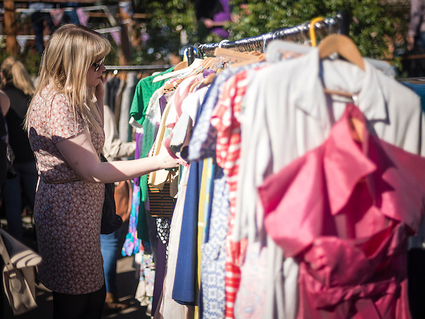 Retro clothes for sale at The Classic Car Boot Sale, South Bank, London, England, United Kingdom, Europe (Matthew Williams-Ellis)