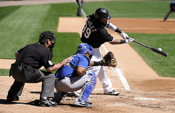 CHICAGO - SEPTEMBER 12:  Manny Ramirez #99 of the Chicago White Sox hits a single in the first inning against the Kansas City Royals on September 12, 2010 at U.S. Cellular Field in Chicago, Illinois.  The White Sox defeated the Royals 12-6.  (Photo by Ron Vesely) (Ron Vesely)